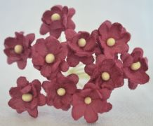 BURGUNDY CHERRY BLOSSOM Mulberry Paper Flowers